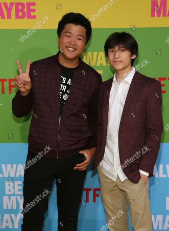 "Hudson Yang, Forrest Wheeler. Hudson Yang, left, and Forrest Wheeler arrive at the premiere of ""Always Be My Maybe"", at the Regency Village Theatre in Los Angeles"