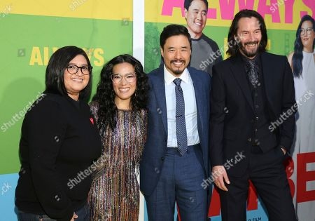 """Stock Photo of Nahnatchka Khan, Ali Wong, Randall Park, Keanu Reeves. Director Nahnatchka Khan, from left, Ali Wong, Randall Park and Keanu Reeves arrive at the premiere of """"Always Be My Maybe"""", at the Regency Village Theatre in Los Angeles"""