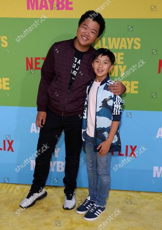 """Hudson Yang, Ian Chen. Hudson Yang, left, and Ian Chen arrive at the premiere of """"Always Be My Maybe"""", at the Regency Village Theatre in Los Angeles"""