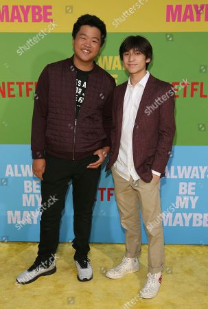 """Hudson Yang, Forrest Wheeler. Hudson Yang, left, and Forrest Wheeler arrive at the premiere of """"Always Be My Maybe"""", at the Regency Village Theatre in Los Angeles"""