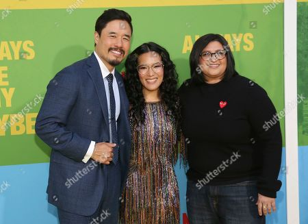 """Randall Park, Ali Wong, Nahnatchka Khan. Randall Park, from left, Ali Wong and director Nahnatchka Khan arrive at the premiere of """"Always Be My Maybe"""", at the Regency Village Theatre in Los Angeles"""