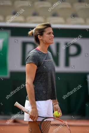 Amelie Mauresmo (Lucas Pouille's coach) during practice
