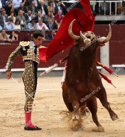 Spanish bullfighter Alberto Lopez Simon fights a bull during the 9th day of San Isidro bullfighting Fair at Las Ventas bullring in Madrid, 22 May 2019 (issued 23 May 2019).