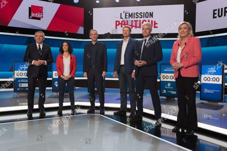 Head of MoDem centrist party Francois Bayrou, front-runner candidate of La France insoumise left wing party Manon Aubry, Front-runner candidate of PS/Place Publique Raphael Glucksmann, front-runner candidate of EELV ecologist party Yannick Jadot, Head of LR right-wing party Laurent Wauquiez and head of the Rassemblement National (RN) far-right party Marine Le Pen