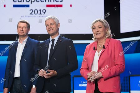 Yannick Jadot, Laurent Wauquiez and Marine Le Pen
