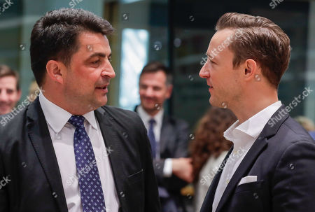 Stock Photo of Valer-Daniel Breaz Appointed Minister of Culture in Romania (L) and Austria's Federal Minister for the EU, Arts, Culture and Media, Gernot Blumel (R) during an Education, Youth, Culture and Sports Council at the European Council in Brussels, Belgium, 23 May 2019.