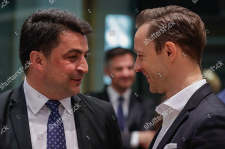 Stock Picture of Valer-Daniel Breaz Appointed Minister of Culture in Romania (L) and Austria's Federal Minister for the EU, Arts, Culture and Media, Gernot Blumel (R) during an Education, Youth, Culture and Sports Council at the European Council in Brussels, Belgium, 23 May 2019.