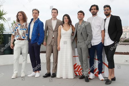 Xavier Dolan (3-R), Canadian actor Gabriel d'Almeida Freitas (2-R), Canadian actor Pier-Luc Funk (3-L), anadian actor Samuel Gauthier (L), Canadian actor Antoine-Olivier Pilon (2-L), Moroccan actor Adib Alkhalidey (R) and Canadian actress Catherine Brunet (C) pose during the photocall for 'Matthias Et Maxime' at the 72nd annual Cannes Film Festival, in Cannes, France, 23 May 2019. The movie is presented in the Official Competition of the festival which runs from 14 to 25 May.