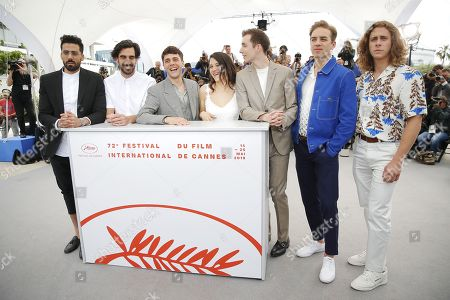 Moroccan actor Adib Alkhalidey, Canadian actor Gabriel d'Almeida Freitas, Canadian director and actor Xavier Dolan, Canadian actress Catherine Brunet, Canadian actor Pier-Luc Funk, Canadian actor Antoine-Olivier Pilon and Canadian actor Samuel Gauthier pose during the photocall for 'Matthias Et Maxime' at the 72nd annual Cannes Film Festival, in Cannes, France, 23 May 2019. The movie is presented in the Official Competition of the festival which runs from 14 to 25 May.