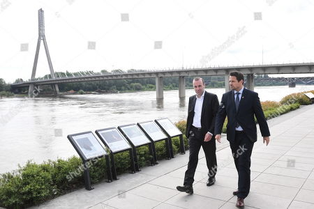 The German CDU/CSU top candidate for the upcoming European Parliament Elections, European People's Party (EPP) chairman Manfred Weber (L) and mayor of Warsaw Rafal Trzaskowski (R) while exploring the Copernicus Science Center in Warsaw, Poland 23 May 2019.