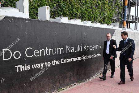 The CDU/CSU top candidate for the upcoming European Parliament Elections, European People's Party (EPP) chairman Manfred Weber (L) and mayor of Warsaw Rafal Trzaskowski (R) while exploring the Copernicus Science Center in Warsaw, Poland 23 May 2019.