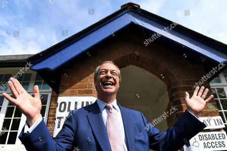 Nigel Farage voting in Biggin Hill, Kent