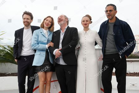 Antoine Reinartz (L), French director Arnaud Desplechin (C), French actress Lea Seydoux (2-L) and French actress Sara Forestier (2-R) and French actor Roschdy Zem pose during the photocall for 'Roubaix, une lumiere (Oh Mercy!)' at the 72nd annual Cannes Film Festival, in Cannes, France, 23 May 2019. The movie is presented in the Official Competition of the festival which runs from 14 to 25 May.