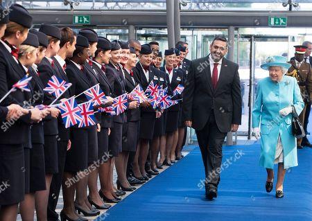 Queen Elizabeth II visits British Airways headquarters Stock