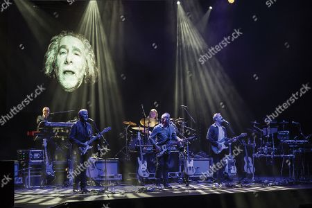 London United Kingdom - April 13: Keith Hayman Rick Fenn Paul Burgess Graham Gouldman And Mick Wilson Of Rock Group 10cc Performing Live On Stage At The Palladium In London On April 13
