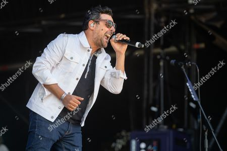 Maidstone United Kingdom - June 30: Vocalist Dante Gizzi Of Scottish Rock Group Gun Performing Live On Stage During Ramblin' Man Fair At Mote Park In Maidstone On June 30