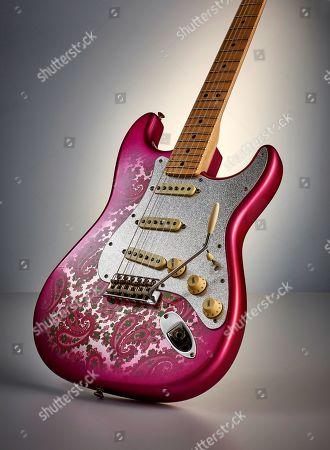 A Fender Custom Shop Eu Master Design '69 Stratocaster Electric Guitar With A Pink Paisley Closet Classic Finish