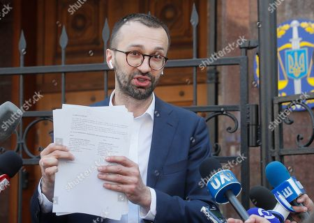 Editorial photo of Ukrainian lawmaker Serhiy Leshchenko shows to journalists the originals of documents, which was returned from USA by FBI after ending of Manafort case investigations., Kiev, Ukraine - 23 May 2019
