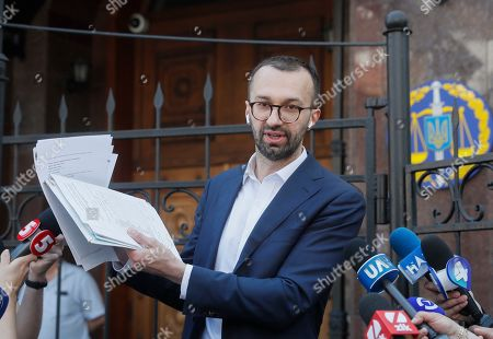 Editorial picture of Ukrainian lawmaker Serhiy Leshchenko shows to journalists the originals of documents, which was returned from USA by FBI after ending of Manafort case investigations., Kiev, Ukraine - 23 May 2019