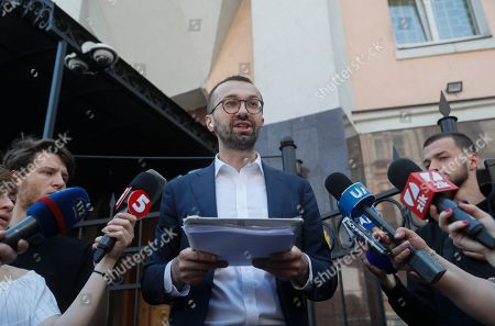 Stock Picture of Ukrainian lawmaker Serhiy Leshchenko (C) shows to journalists the originals of documents, which was returned from USA by the FBI after ending of Manafort case investigations, before his visit to Prosecutor General Office in Kiev, Ukraine, 23 May 2019. Leshchenko said US political consultant Paul Manafort, journalist Larry King, and Svoboda Party in Ukraine received money from the so-called 'black ledgers' of the pro-Yanukovych Party of Regions during Presidential election campaign in 2010. On 14 May 2019, Ukrainian Prosecutor General Yuriy Lutsenko accused Leshchenko of interfering in the American elections in 2016 with the aim of helping one of the presidential candidates because of disclossed data on Manafort, who at the time when such data were disseminated, led Donald Trump's campaign headquarters.