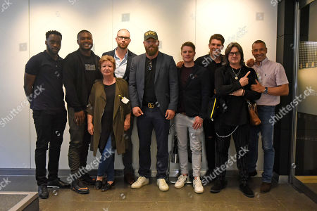 Stock Picture of From left: Denzel Bentey, Viddal Riley, Geraldine Davies, Daniel Glynn (producer), Scott Welch, Mat Hodgson (director), James Branch, Gareth A Davies and Martin Bowers during the 'I Am Duran' Film Screening at Universal Pictures on 23rd May 2019