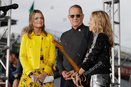 "Sheryl Crow, right, talks Savannah Guthrie and Tom Hanks on NBC's ""Today"" show at the Indianapolis Motor Speedway, in Indianapolis"