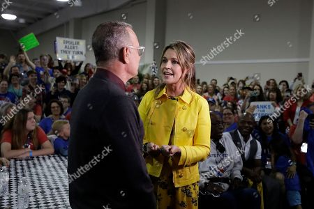 "Savannah Guthrie and Tom Hanks talk as they appear NBC's ""Today"" show at the Indianapolis Motor Speedway, in Indianapolis"