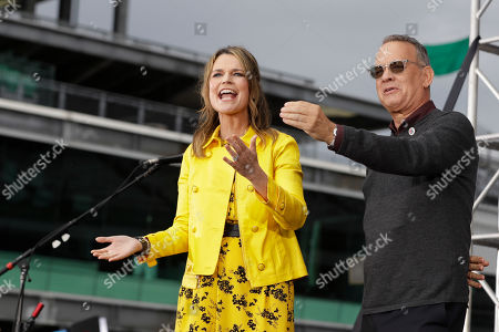 "Savannah Guthrie and Tom Hanks talks with the crowd on NBC's ""Today"" show at the Indianapolis Motor Speedway, in Indianapolis"