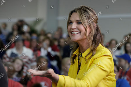"Savannah Guthrie talks with the crowd as she appears on NBC's ""Today"" show at the Indianapolis Motor Speedway, in Indianapolis"