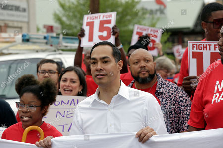 Presidential candidate and former U.S. Department of Housing and Urban Development Julian Castro rallies with McDonald's employees and other activists demanding fairer pay, better working conditions, and the right to unionize in Durham, N.C