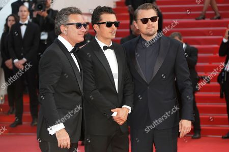 Crew from the movie 'And we go green', Alejandro Agag (L), Orlando Bloom and Leonardo DiCaprio(R) arrives for the screening of 'Il traditore' (The Traitor) during the 72nd annual Cannes Film Festival, in Cannes, France, 23 May 2019. The movie is presented in the Official Competition of the festival which runs from 14 to 25 May.
