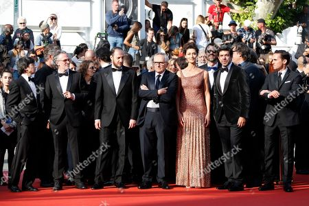 Luigi Lo Cascio, guest , Fausto Russo Alesi , Marco Bellocchio, Maria Fernanda Candido, Pierfrancesco Favino, arrive for the screening of 'Il traditore' (The Traitor) during the 72nd annual Cannes Film Festival, in Cannes, France, 23 May 2019. The movie is presented in the Official Competition of the festival which runs from 14 to 25 May.