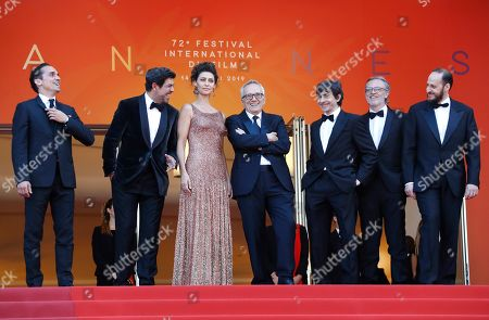 A guest, Italian actor Pierfrancesco Favino, Brazilian actress Maria Fernanda Candido, Italian director Marco Bellocchio, Italian actor Luigi Lo Cascio, a guest and Italian actor Fausto Russo Alesi arrive for the screening of 'Il traditore' (The Traitor) during the 72nd annual Cannes Film Festival, in Cannes, France, 23 May 2019. The movie is presented in the Official Competition of the festival which runs from 14 to 25 May.