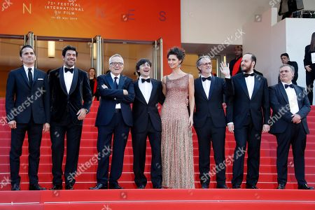 A guest, Italian actor Pierfrancesco Favino, Italian director Marco Bellocchio, Italian actor Luigi Lo Cascio, Brazilian actress Maria Fernanda Candido, a guest, Italian actor Fausto Russo Alesi and a guest arrive for the screening of 'Il traditore' (The Traitor) during the 72nd annual Cannes Film Festival, in Cannes, France, 23 May 2019. The movie is presented in the Official Competition of the festival which runs from 14 to 25 May.