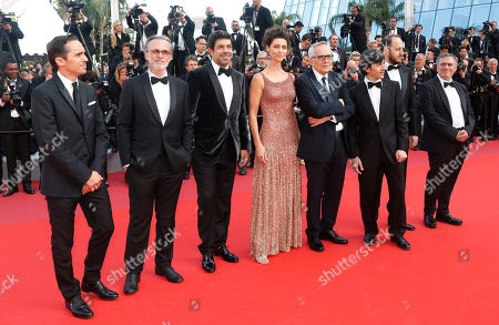Luigi Lo Cascio, Italian actor Fausto Russo Alesi, Italian director Marco Bellocchio, Brazilian actress Maria Fernanda Candido, a guest, Italian actor Pierfrancesco Favino and a guest arrive for the screening of 'Il traditore' (The Traitor) during the 72nd annual Cannes Film Festival, in Cannes, France, 23 May 2019. The movie is presented in the Official Competition of the festival which runs from 14 to 25 May.