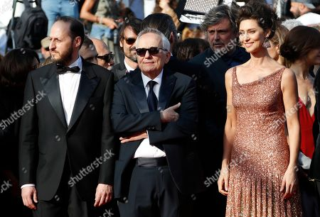 Fausto Russo Alesi, Marco Bellocchio and Maria Fernanda Candido arrive for the screening of 'Il traditore' (The Traitor) during the 72nd annual Cannes Film Festival, in Cannes, France, 23 May 2019. The movie is presented in the Official Competition of the festival which runs from 14 to 25 May.