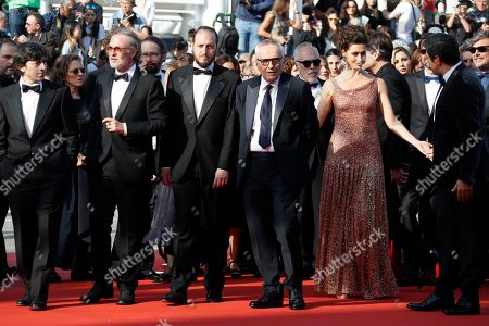 Luigi Lo Cascio, Fabrizio Ferracane, Fausto Russo Alesi, Marco Bellocchio, Maria Fernanda Candido and Pierfrancesco Favino arrive for the screening of 'Il traditore' (The Traitor) during the 72nd annual Cannes Film Festival, in Cannes, France, 23 May 2019. The movie is presented in the Official Competition of the festival which runs from 14 to 25 May.
