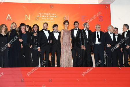 Luigi Lo Cascio (6-L), Brazilian actress Maria Fernanda Candido (C), Italian actor Pierfrancesco Favino (6-R), Italian actor Fausto Russo Alesi (5-R), Italian director Marco Bellocchio (4-R) and guests leave after the screening of 'Il traditore' (The Traitor) during the 72nd annual Cannes Film Festival, in Cannes, France, 23 May 2019. The movie is presented in the Official Competition of the festival which runs from 14 to 25 May.