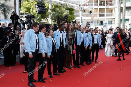 French actor Romain Brau (C) with directors Cédric Le Gallo (C-R), Maxime Govare (C-L) actor Nicolas Gob (4-R) along with the cast of 'Les Crevettes Pailletes' arrive for the screening of 'Il traditore' (The Traitor) during the 72nd annual Cannes Film Festival, in Cannes, France, 23 May 2019. The movie is presented in the Official Competition of the festival which runs from 14 to 25 May.