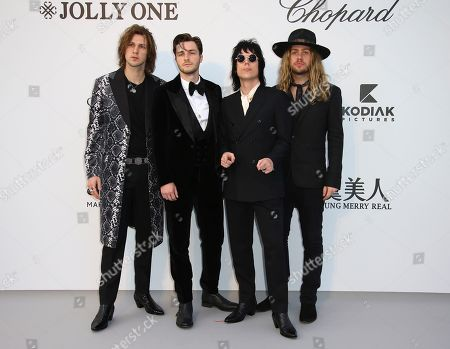 Gethin Davies, Jed Elliott, Luke Spiller, Adam Slack. Musicians Gethin Davies, from left, Jed Elliott, Luke Spiller, and Adam Slack of The Struts poses for photographers upon arrival at the amfAR, Cinema Against AIDS, benefit at the Hotel du Cap-Eden-Roc, during the 72nd international Cannes film festival, in Cap d'Antibes, southern France
