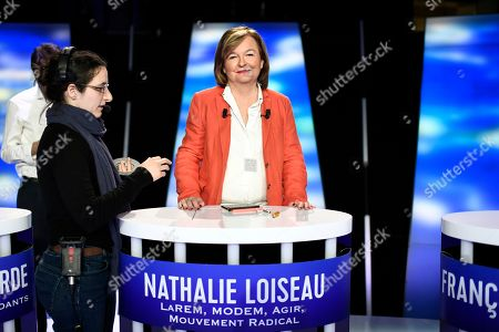 Front-runner candidate for French La Republique En Marche (LREM) party Nathalie Loiseau waits before a TV debate as part of the campaign for the European elections, on the set of the French TV channel BFM, in La Plaine-Saint-Denis, outside Paris, France, 23 May 2019. The European Parliament elections are held the member countries of the European Union from 23 to 26 May 2019.