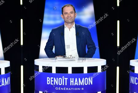 Front-runner candidate for French leftist party Generation.s Benoit Hamon poses before a TV debate as part of the campaign for the European elections, on the set of the French TV channel BFM, in La Plaine-Saint-Denis, outside Paris, France, 23 May 2019. The European Parliament elections are held the member countries of the European Union from 23 to 26 May 2019.