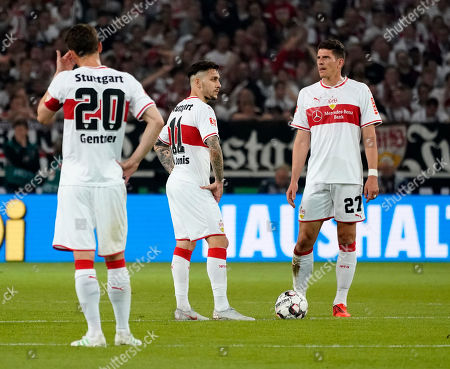 Stuttgart players (L-R) Christian Gentner, Anastasios Donis, and Mario Gomez react during the German Bundesliga relegation play-off first leg soccer match between VfB Stuttgart and FC Union Berlin, in Stuttgart, Germany, 23 May 2019.