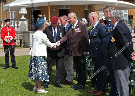 The Duchess of Gloucester greets veteran David Kerridge during the Not Forgotten Association Annual Garden Party at Buckingham Palace