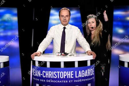 Front-runner candidate for France's UDI centrist party Jean-Christophe Lagarde prepares for a TV debate as part of the campaign for the European elections in La Plaine-Saint-Denis, outside Paris, . European Elections take place in each EU nation between May 23-26 and in France on May 26