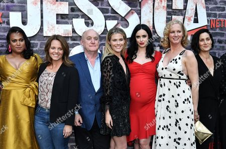 Aneesh Sheth, Allie Goss, Jeph Loeb, Rachael Taylor, Krysten Ritter, Melissa Rosenberg and Carrie-Anne Moss