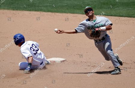Sacramento State's Keith Torres forces out Cal State Bakersfield's Sean Fekete (33) at second as he turns a double play on Jesse Rowley during the sixth inning of an NCAA college baseball game at the Western Athletic Conference tournament, in Mesa, Ariz