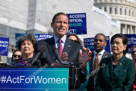Democratic Senator from Connecticut Richard Blumenthal (L) and Democratic Representative from California Judy Chu (R) are joined by other legislators to introduce the Women's Health Protection Act (WHPA), federal legislation to guarantee equal access to abortion in the United States, at the Capitol in Washington, DC, USA, 23 May 2019. In the wake of several states' restrictive abortion bans, the WHPA would guarantee a woman's right to an abortion and the right of an abortion provider to deliver services.