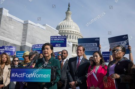 Democratic Representative from California  Judy Chu (L) and Democratic Senator from Connecticut Richard Blumenthal (R) are joined by other legislators to introduce the Women's Health Protection Act (WHPA), federal legislation to guarantee equal access to abortion in the United States, at the Capitol in Washington, DC, USA, 23 May 2019. In the wake of several states' restrictive abortion bans, the WHPA would guarantee a woman's right to an abortion and the right of an abortion provider to deliver services.