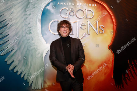 """Neil Gaiman attends the premiere of Amazon Prime Video's """"Good Omens"""" at the Whitby Hotel, in New York"""